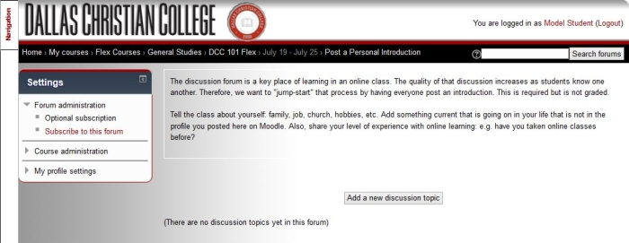 Using the Discussion Board (Forum)